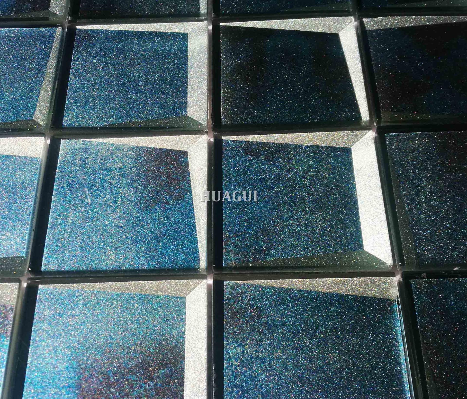73x73  beveled blue best mosaic glass polished tile backsplash idea