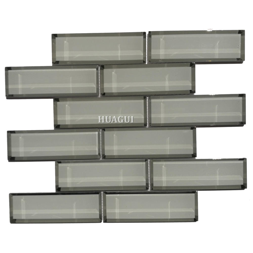 Neutral glossy glass subway mosaic tile for sale