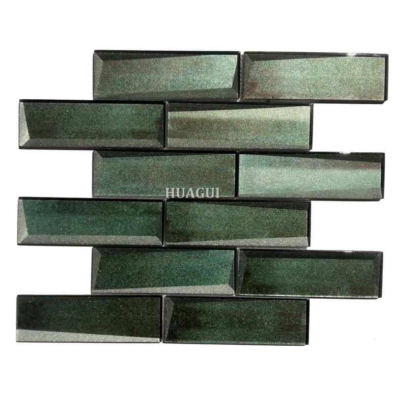 2''x6'' green mosaic brick wall tiles design