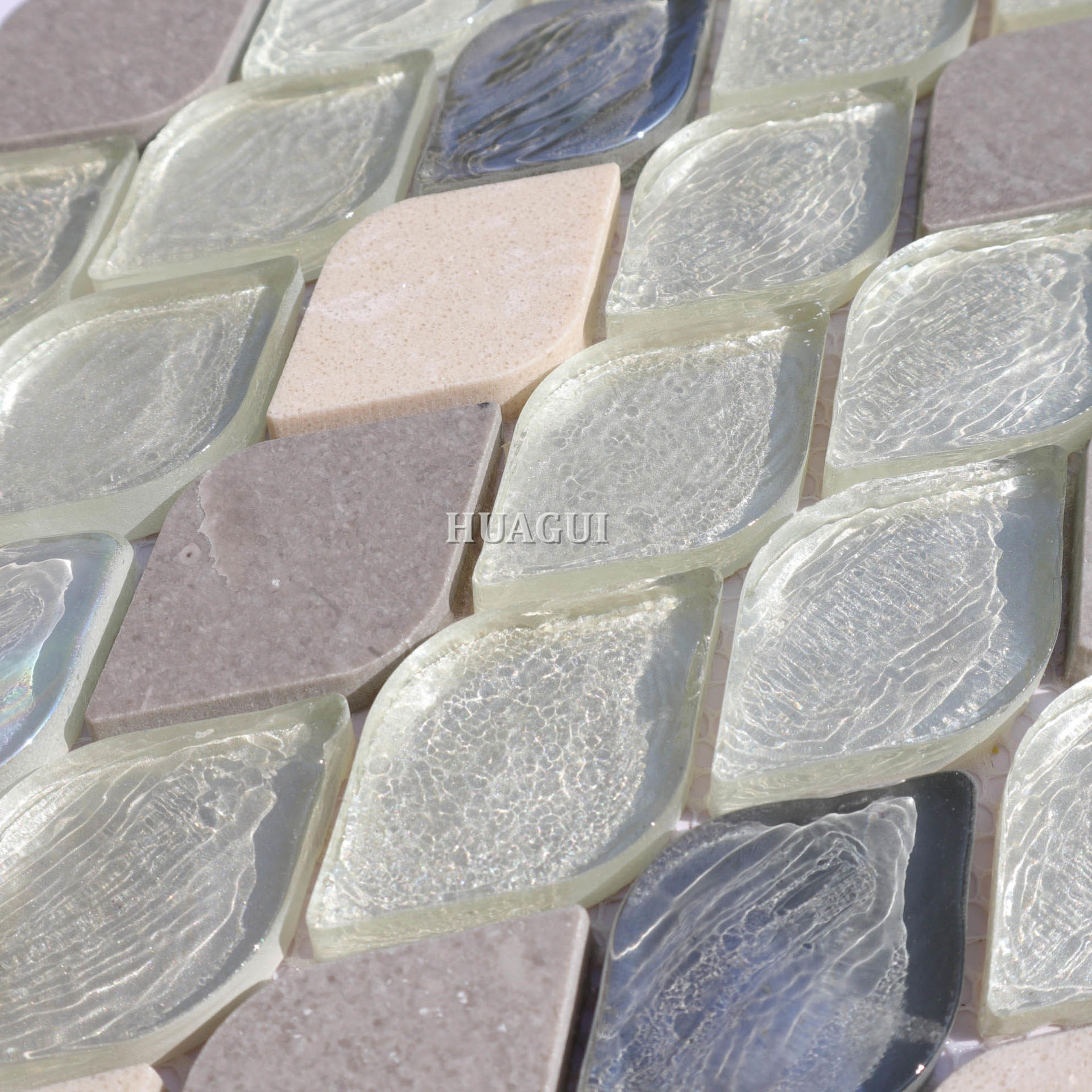 Colorful rhombus glass mix stone mosaic tile backsplash