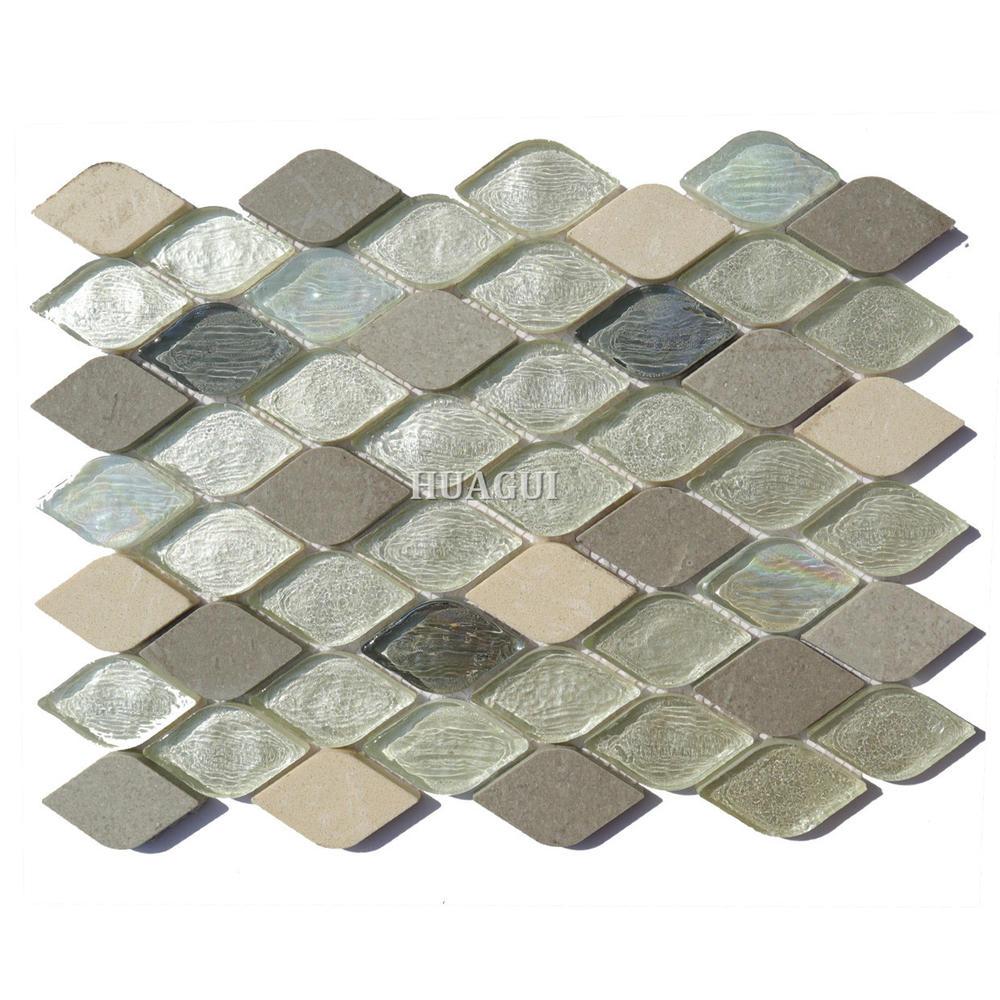 Colorful rhombus glass mix stone mosaic tile backsplash