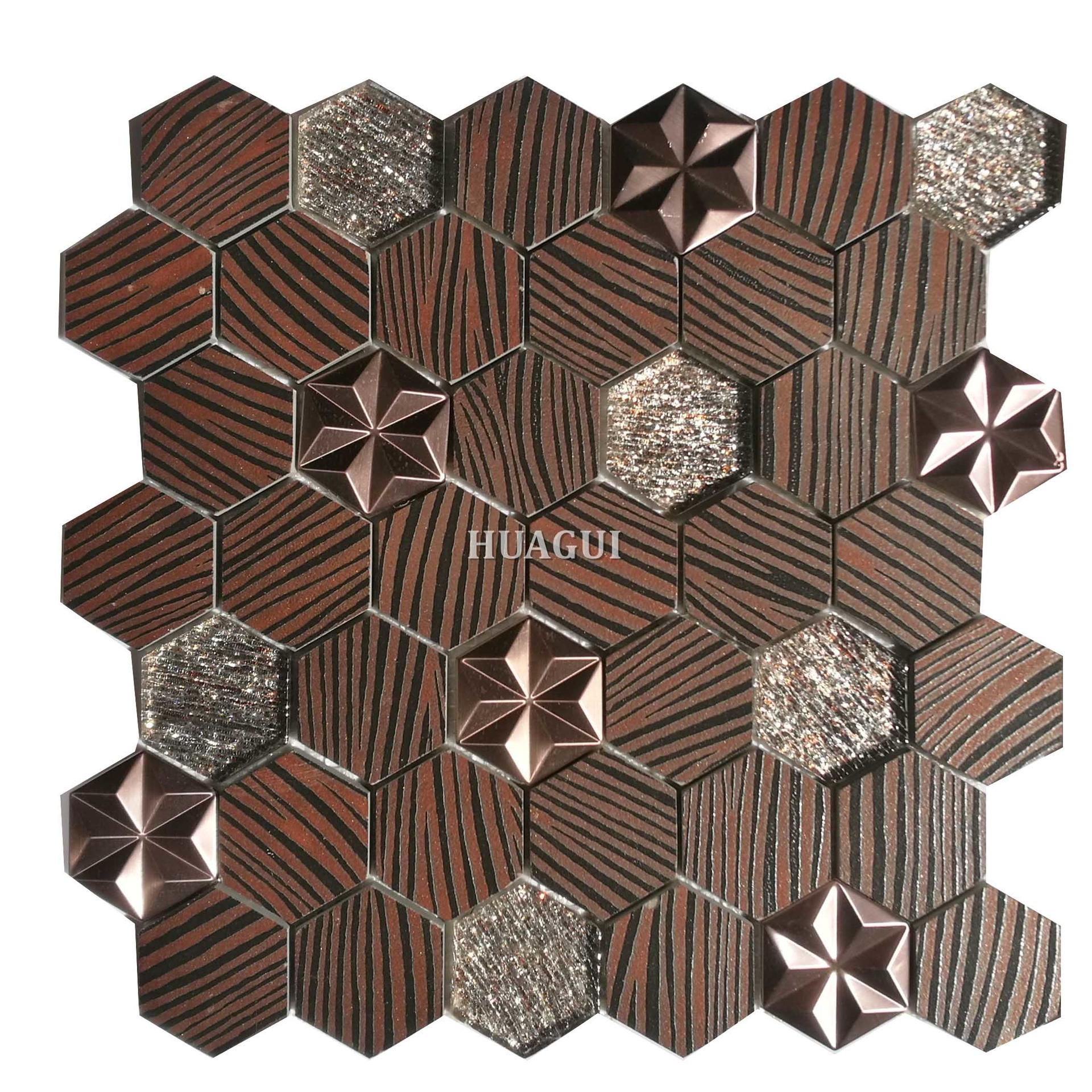 Glass ceramic hexagon mosaic patterned tile from China manufacturer