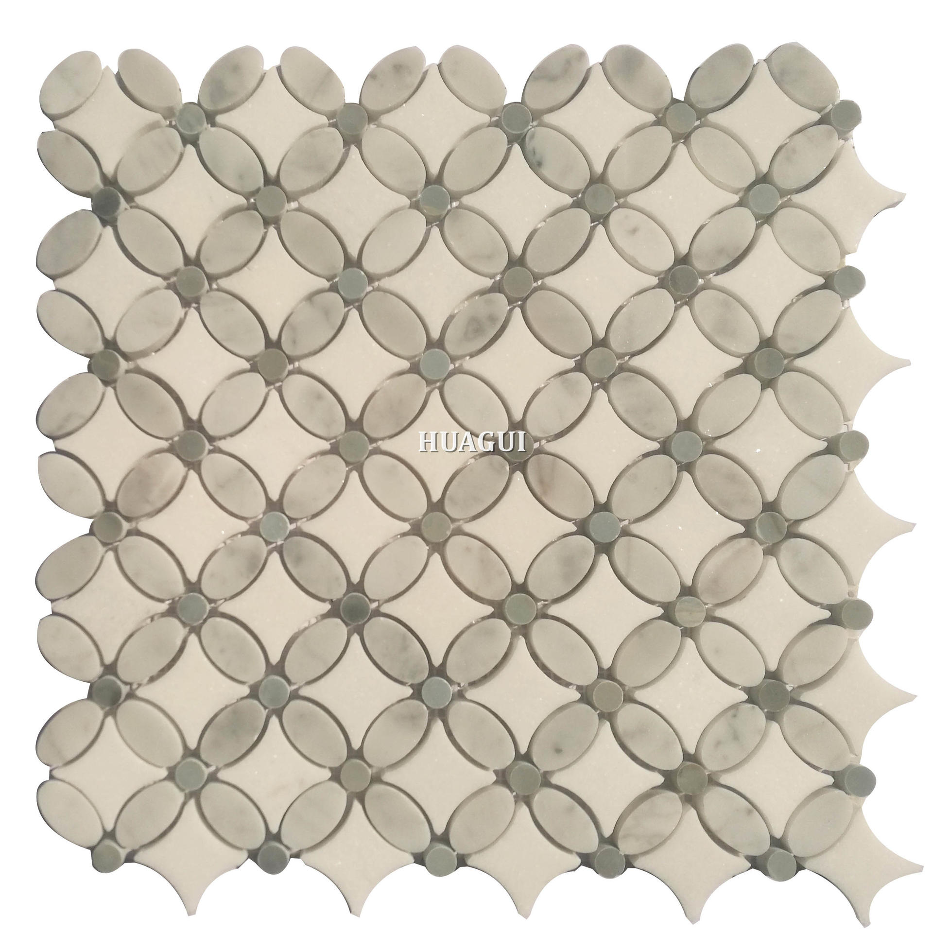 Unique backsplash design white stone mosaic tile flower pictures