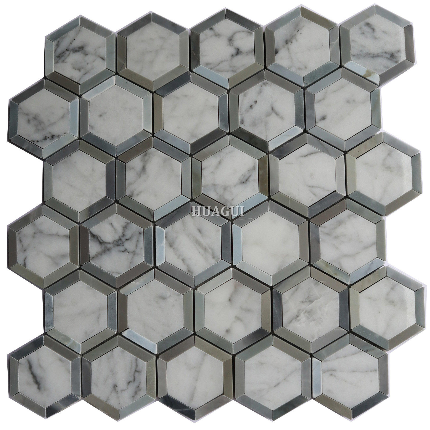 Grey marble hexagon mosaic tile with metal edge in China