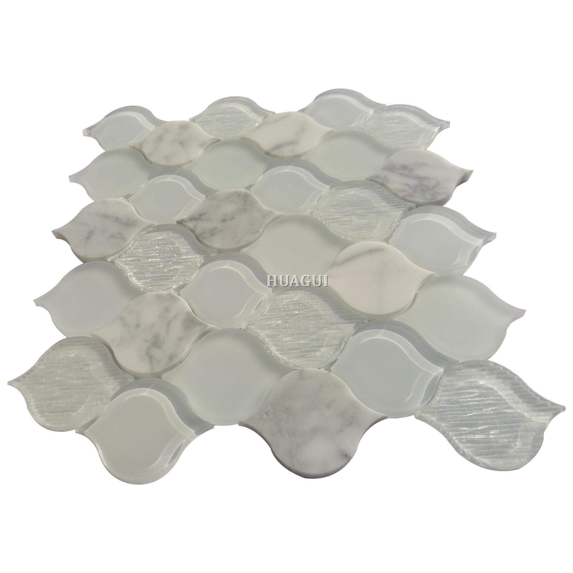 USA hot sale white backsplash lantern glass and stone mosaic tile for wall