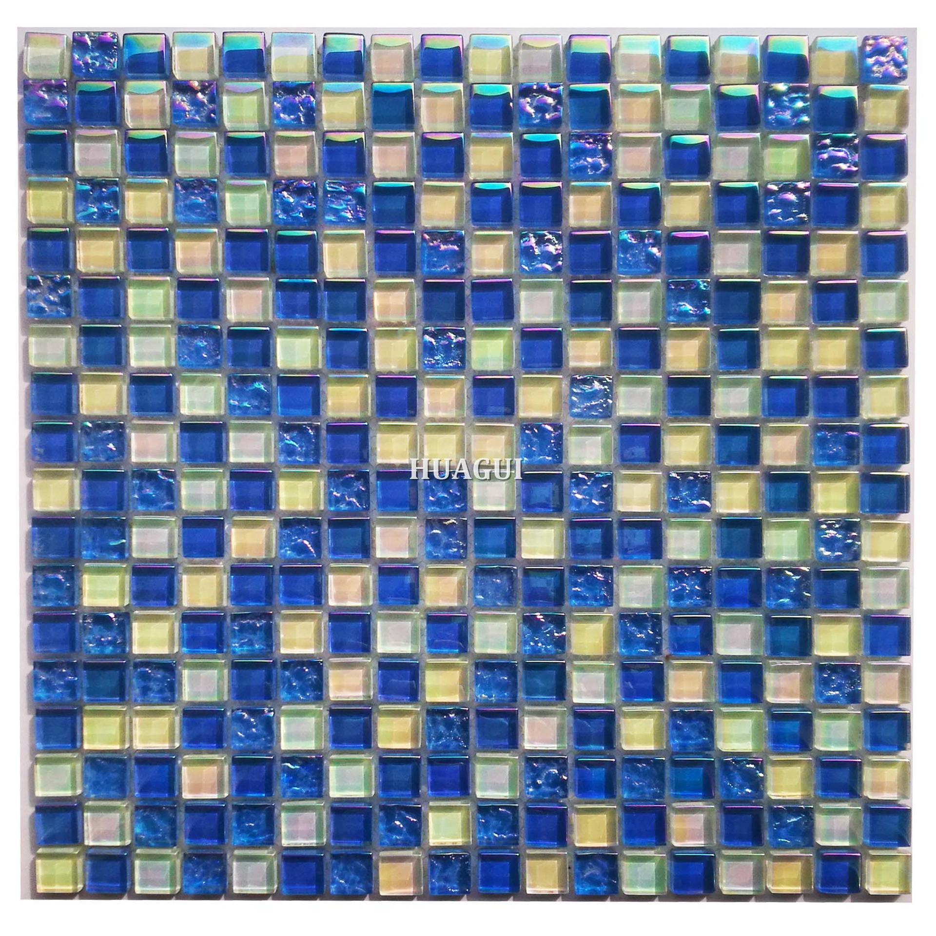 15x15 Blue square glass mosaic tile rainbow tile for bathroom