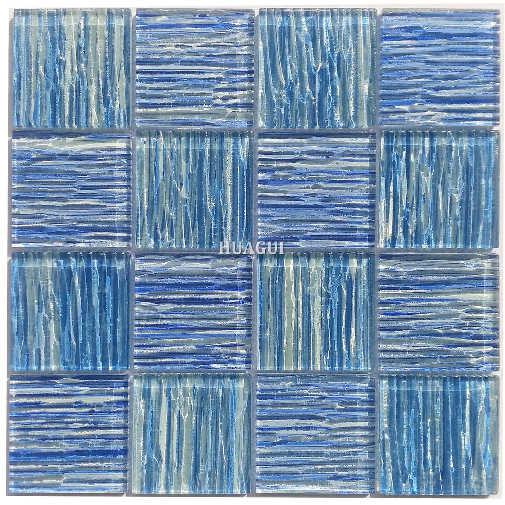 China factory royal blue pattern wavy glass mosaic pool tile design