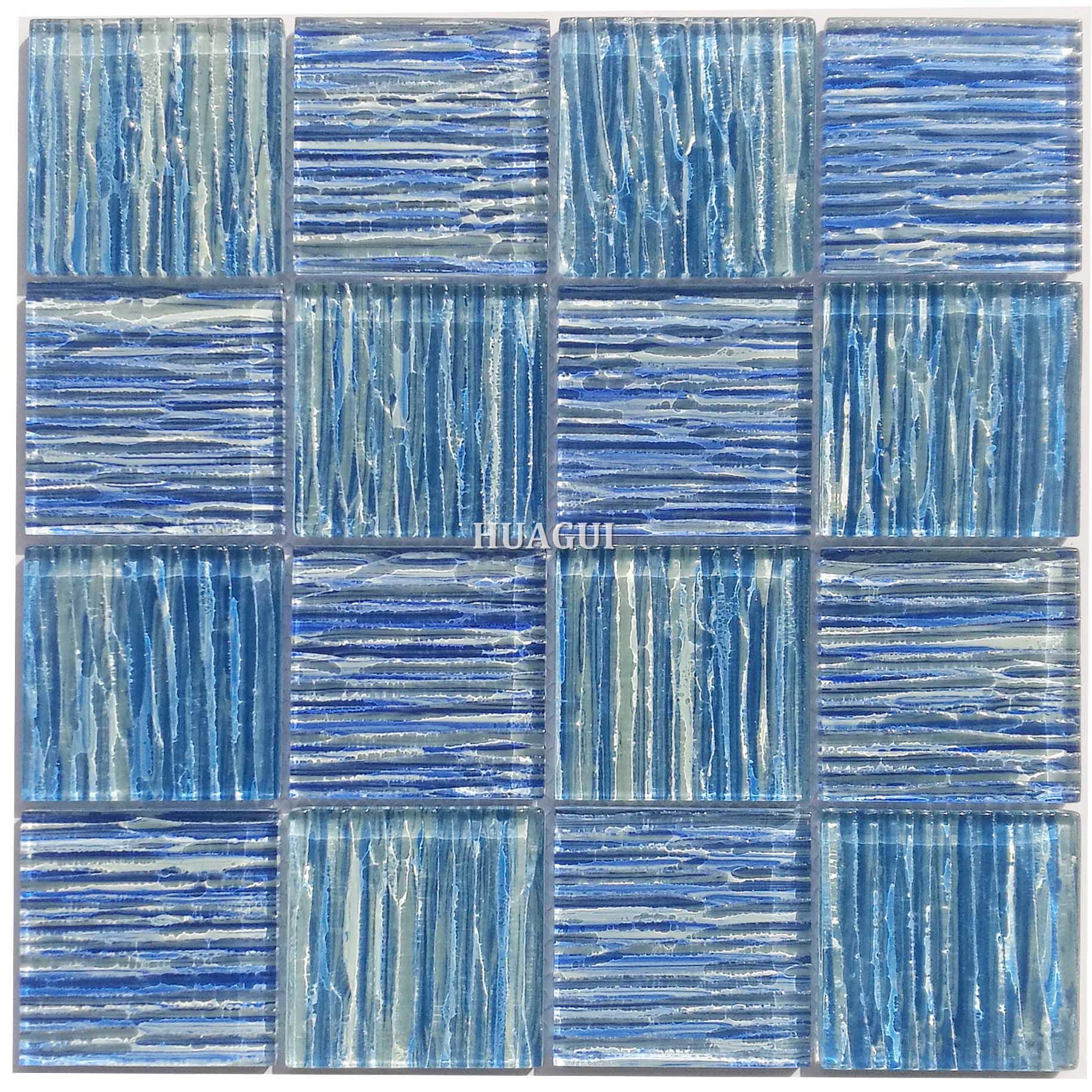 China factory royal blue pattern wavy glass mosaic pool tile design