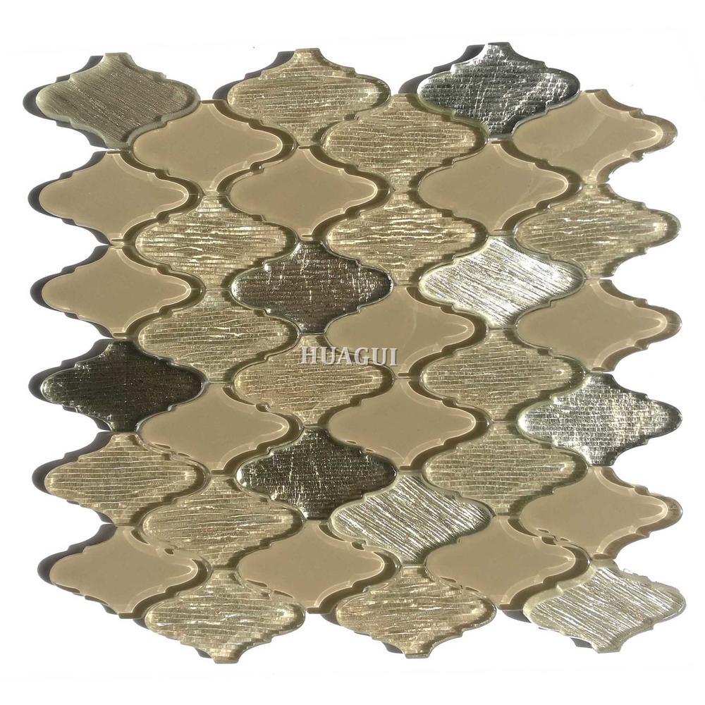Idiographic arabesque glass mosaic wall tile ideas