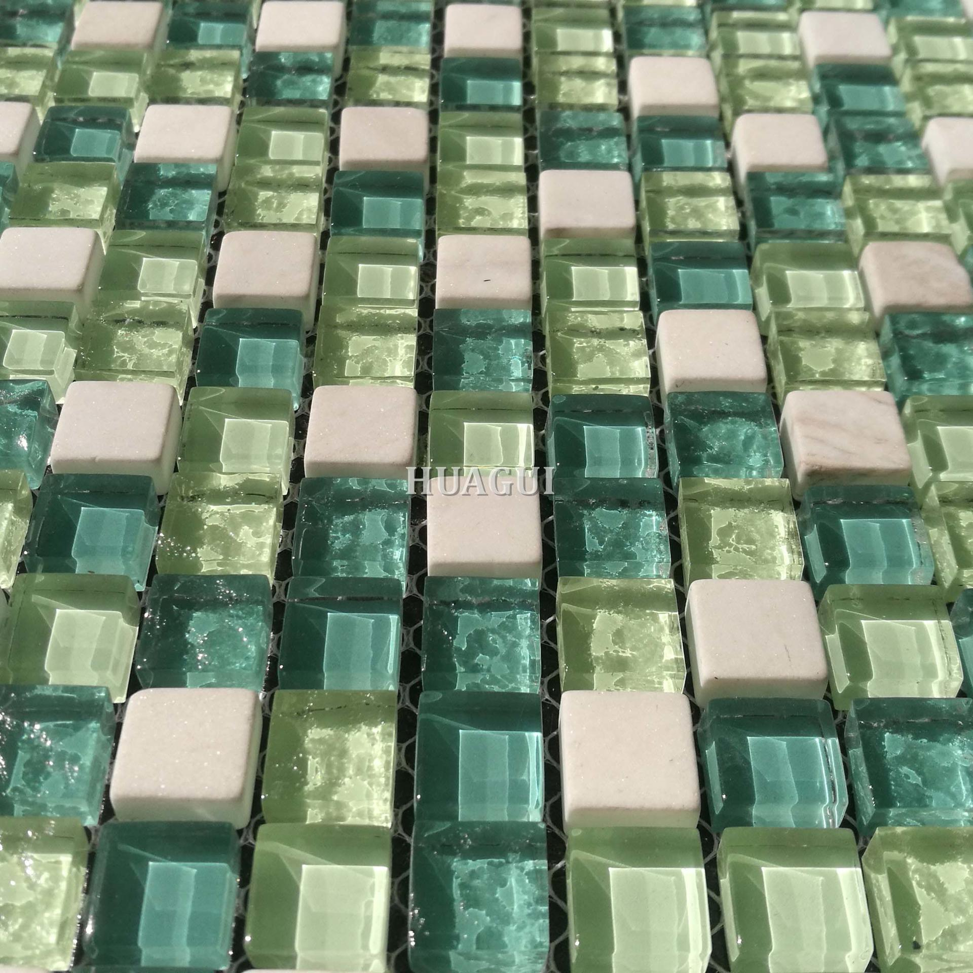 Small square green crystal glass mosaic with stone tile backsplash for sale