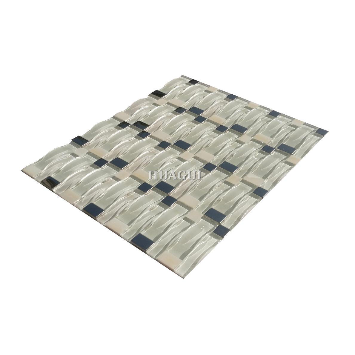 White waving glass metal tile for light color bathroom wall backsplash design