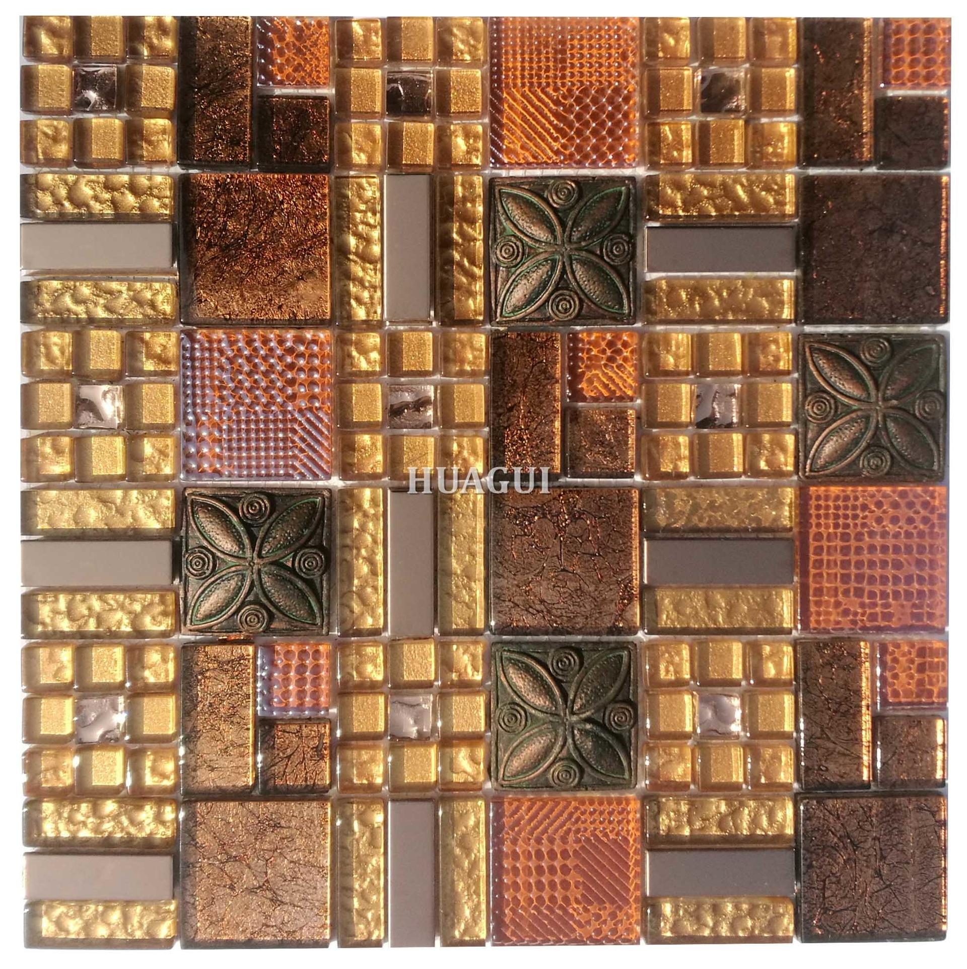 Mix a variety of crystal glass mosaics mix resin tile gold effect backsplash
