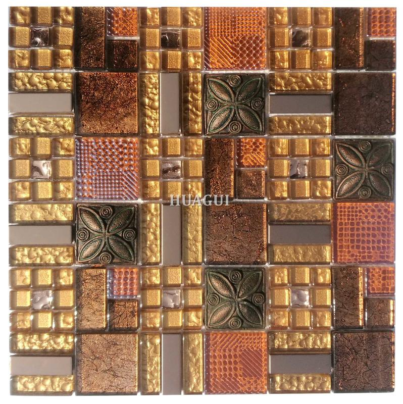 Mix a variety of crystal glass mosaics mix resin tile gold effect backsplash