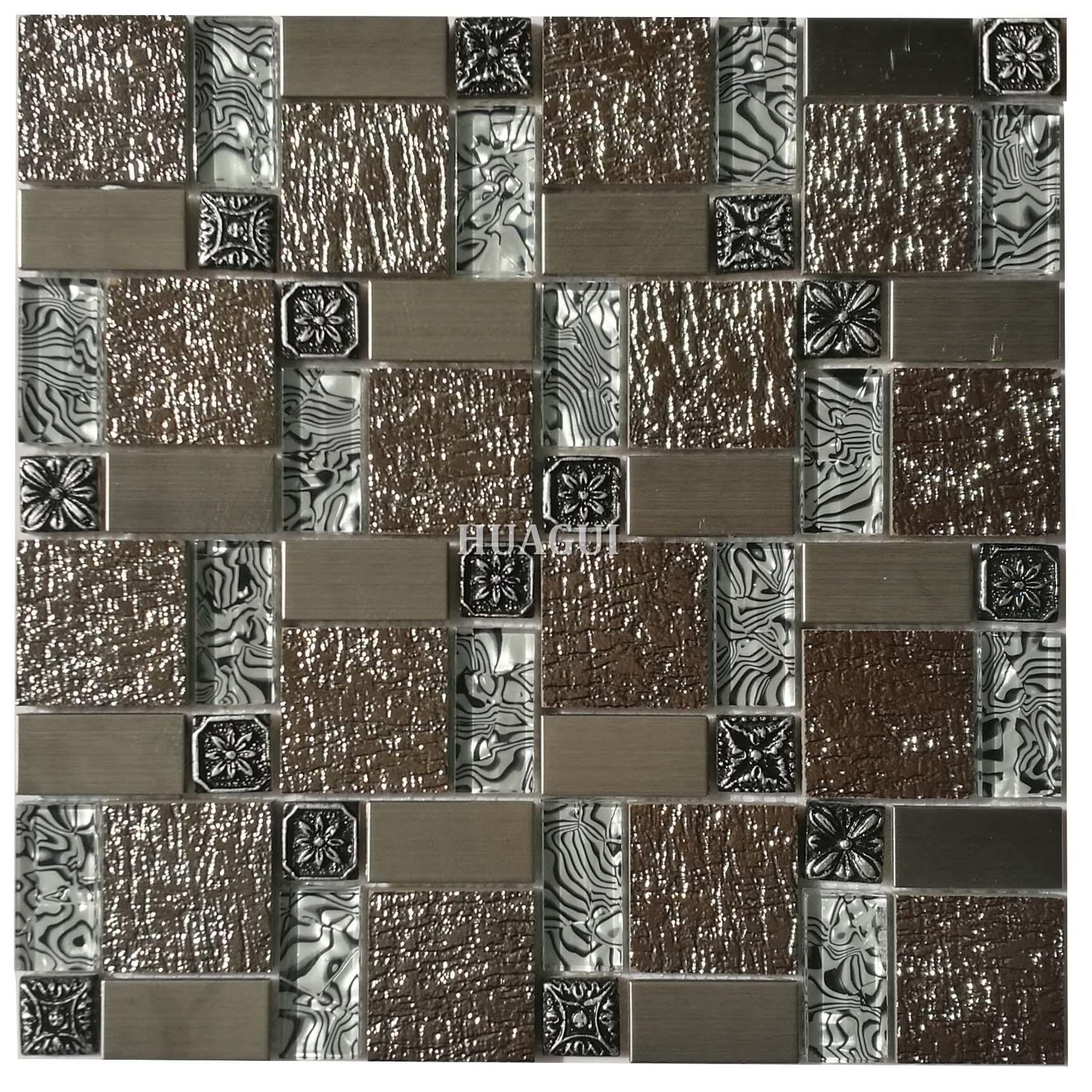1 x 1 elegant brown glass metal mosaic tile backsplash idea