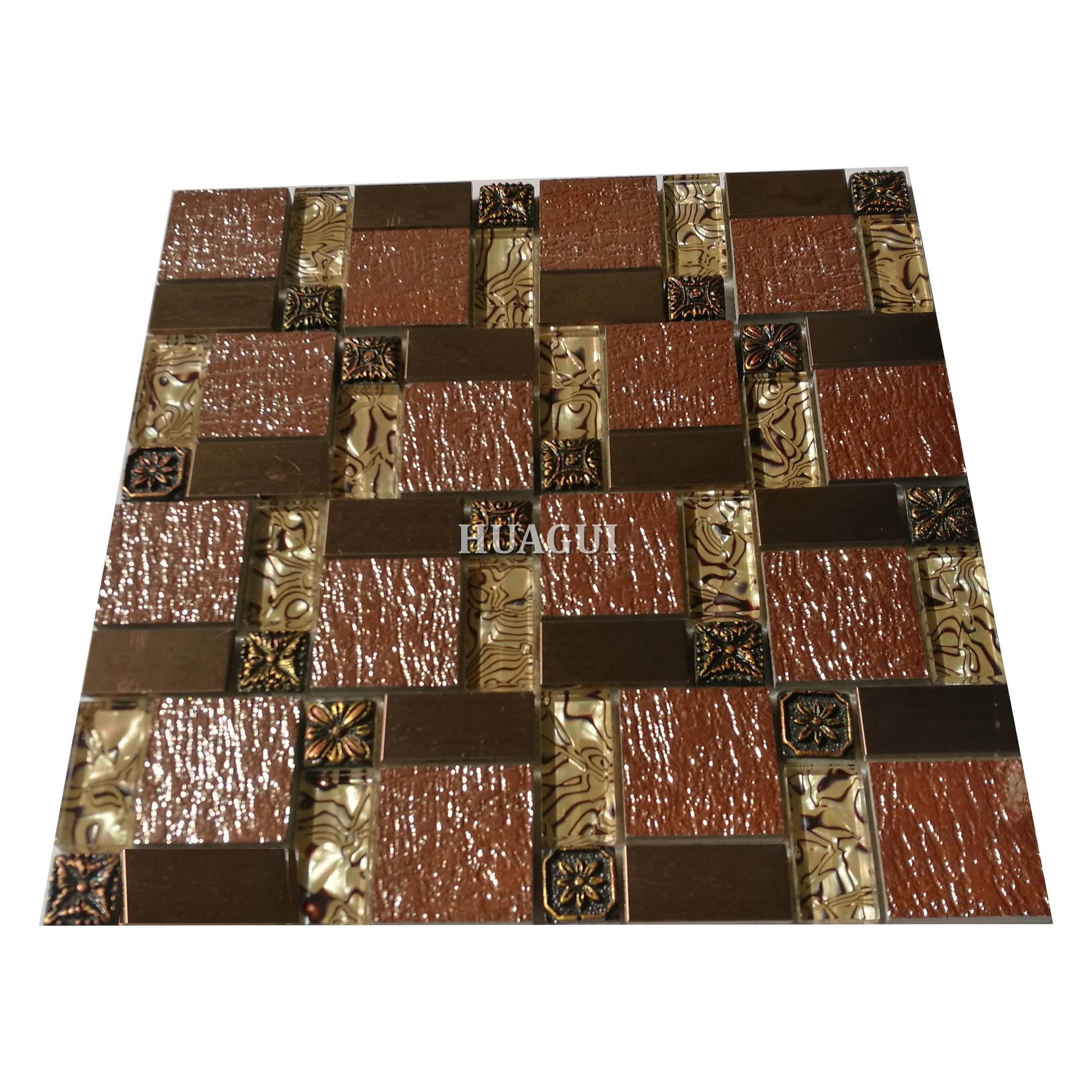 Golden stainless steel glass mosaic design tiles heat resistant
