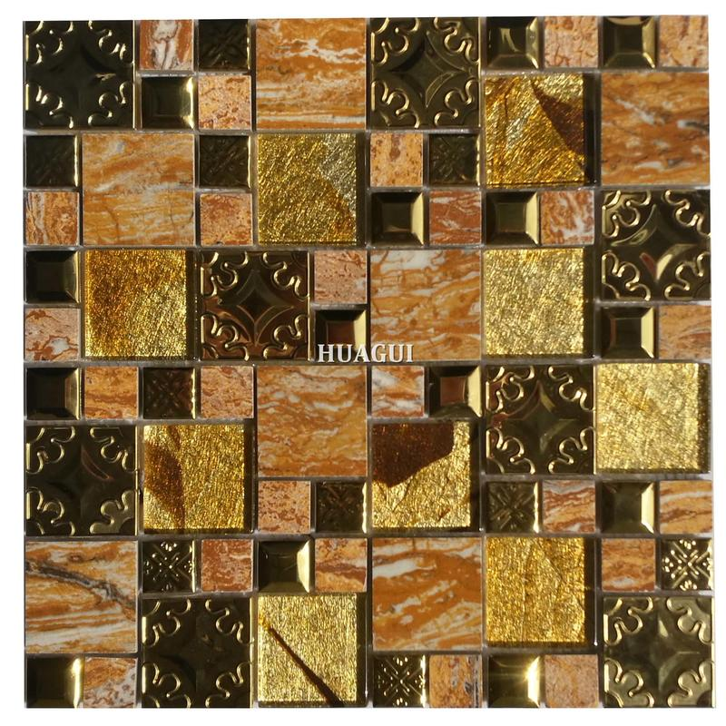 12''x12'' shimmering glass mosaic with glitter beveled metal tile decoration