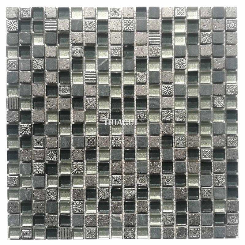 Gray and white small size glass stone mosaic tile