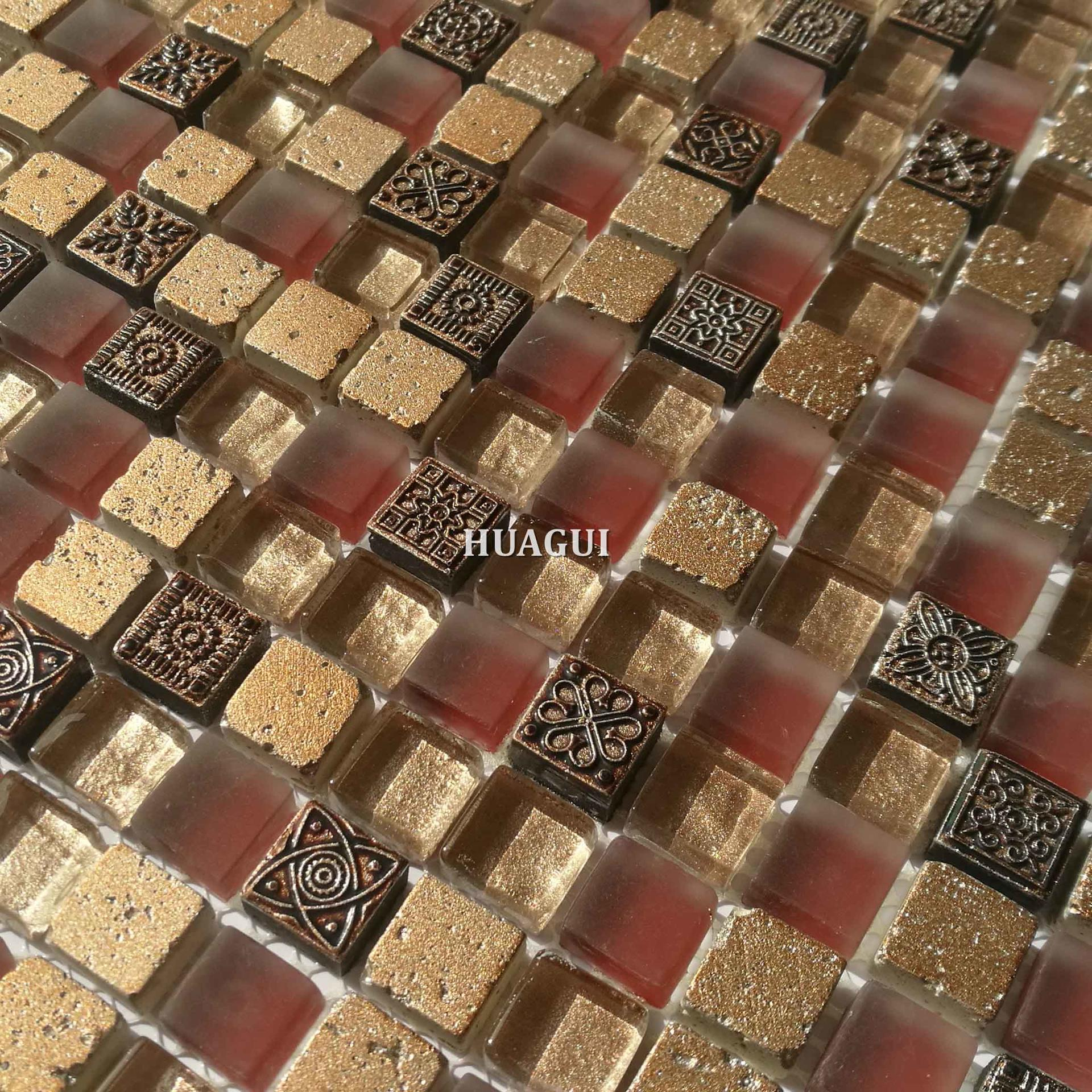 Luxury small square red and gold color mosaic tiles for pillars