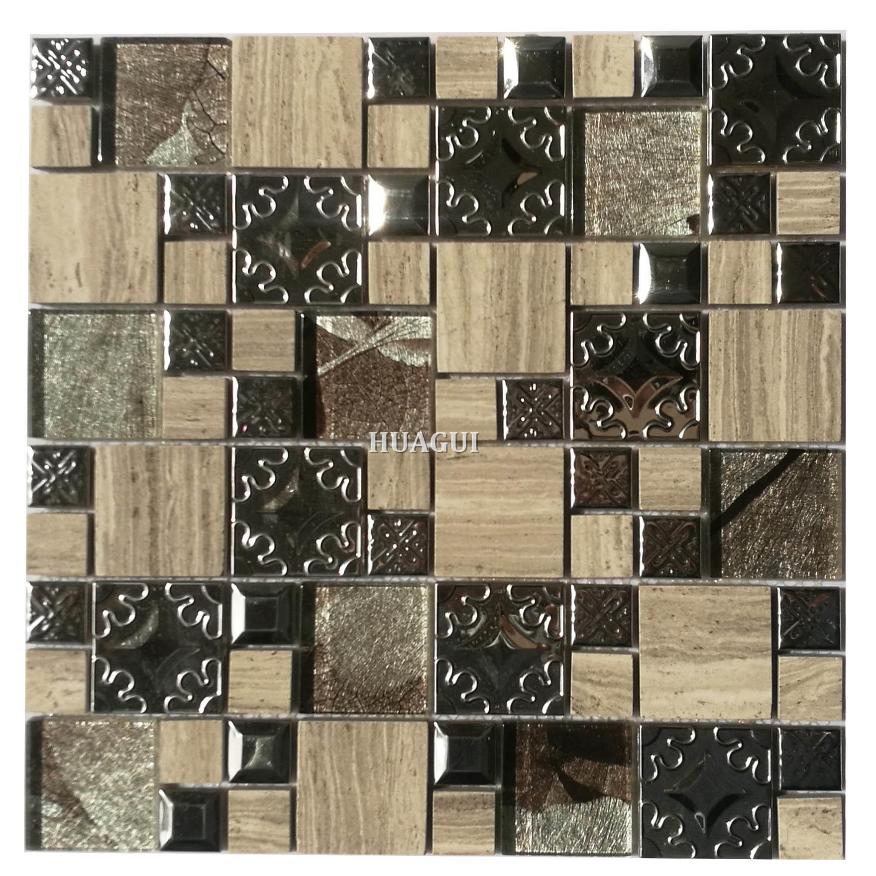 300x300mm square shape glass, metal and stone mosaic tile