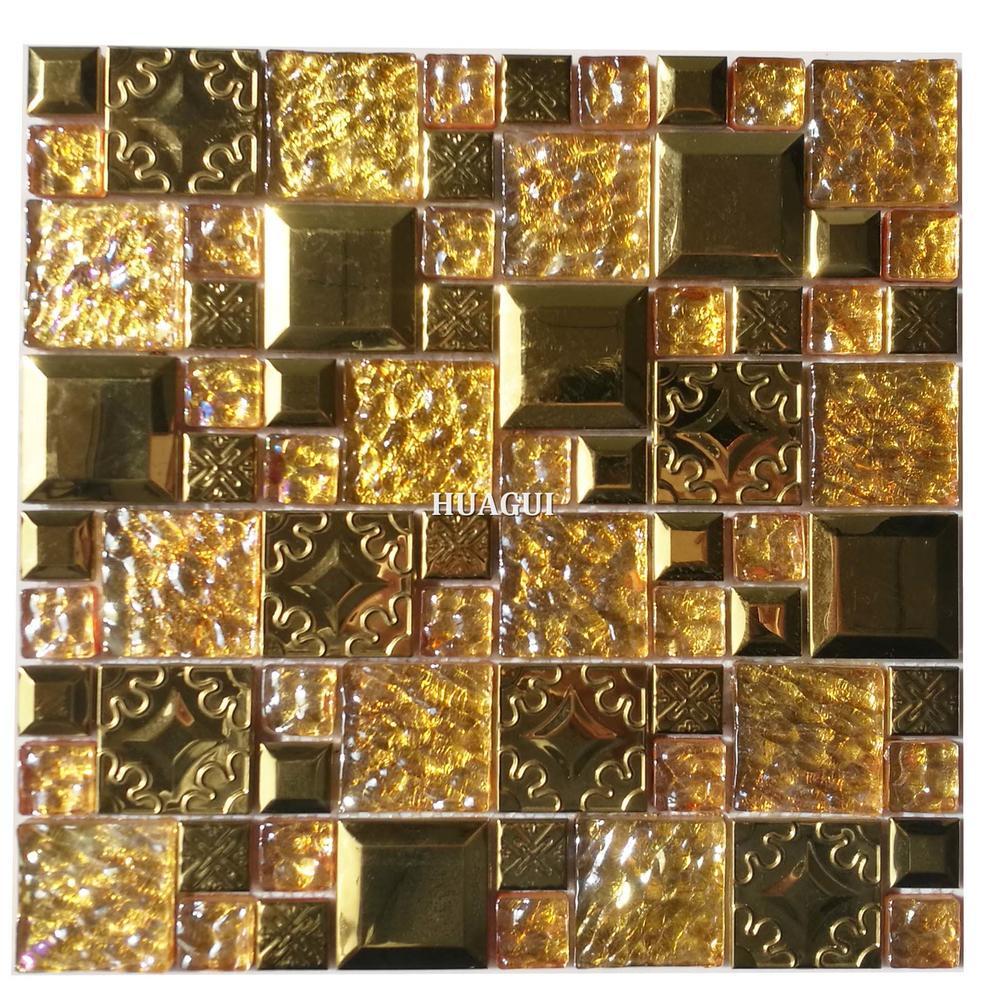 Beautiful golden color glass and metal mosaic tiles design in Mumbai