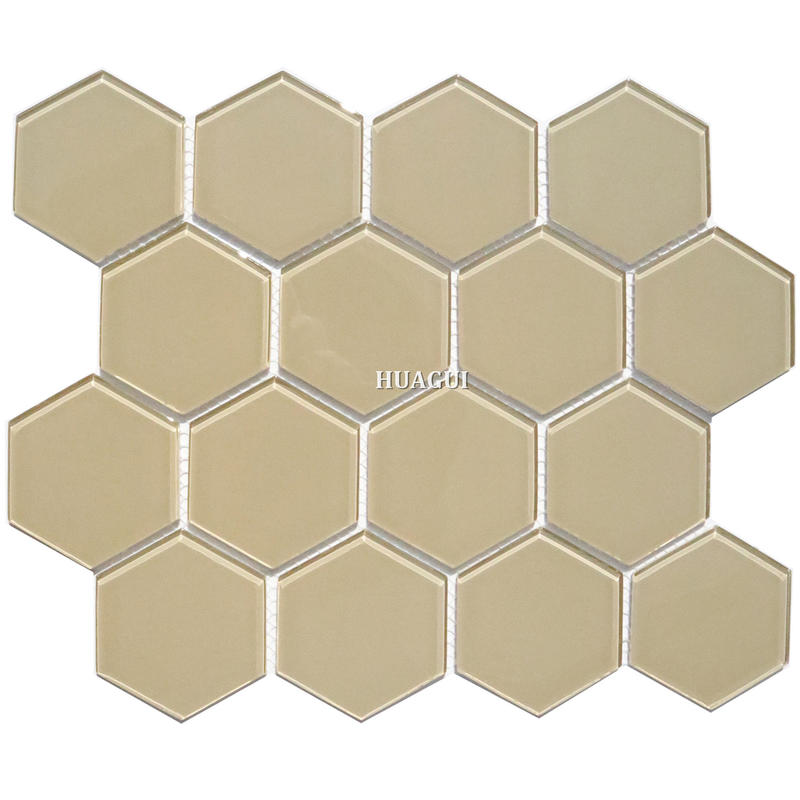 Inexpensive beige color backsplash neutral hexagon glass mosaic tiles in China