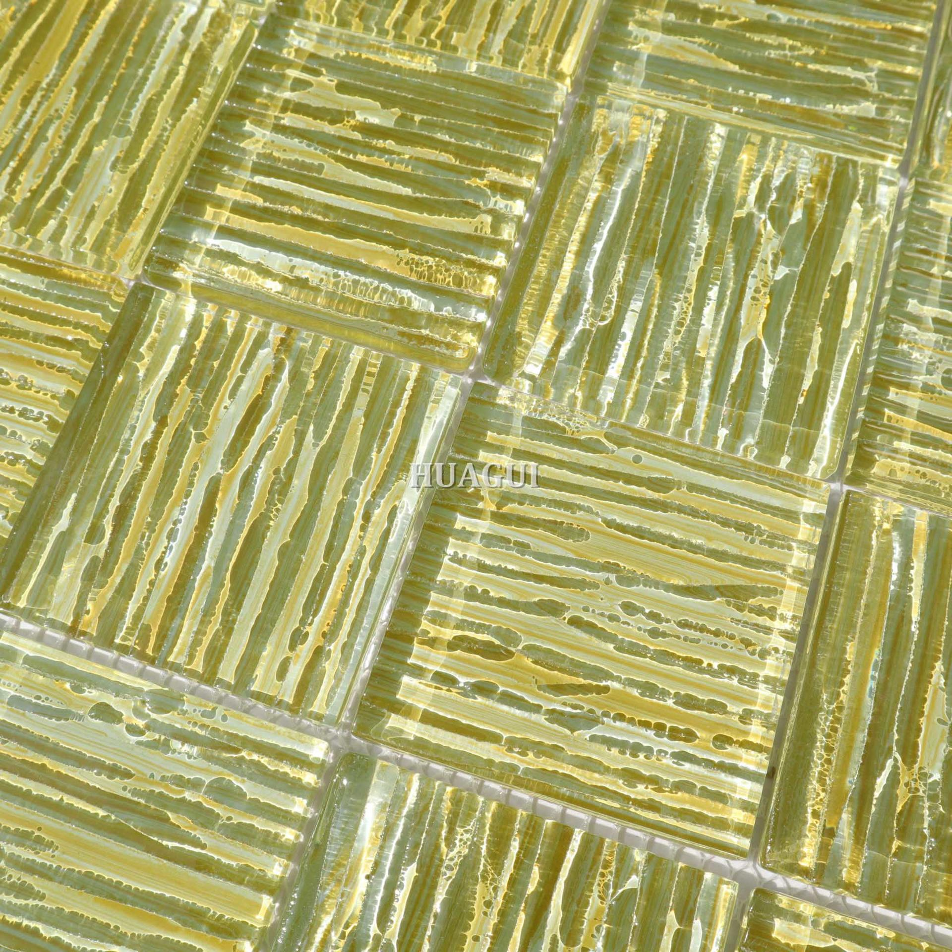 Painted grain with glossy crystal glass tiles patterned