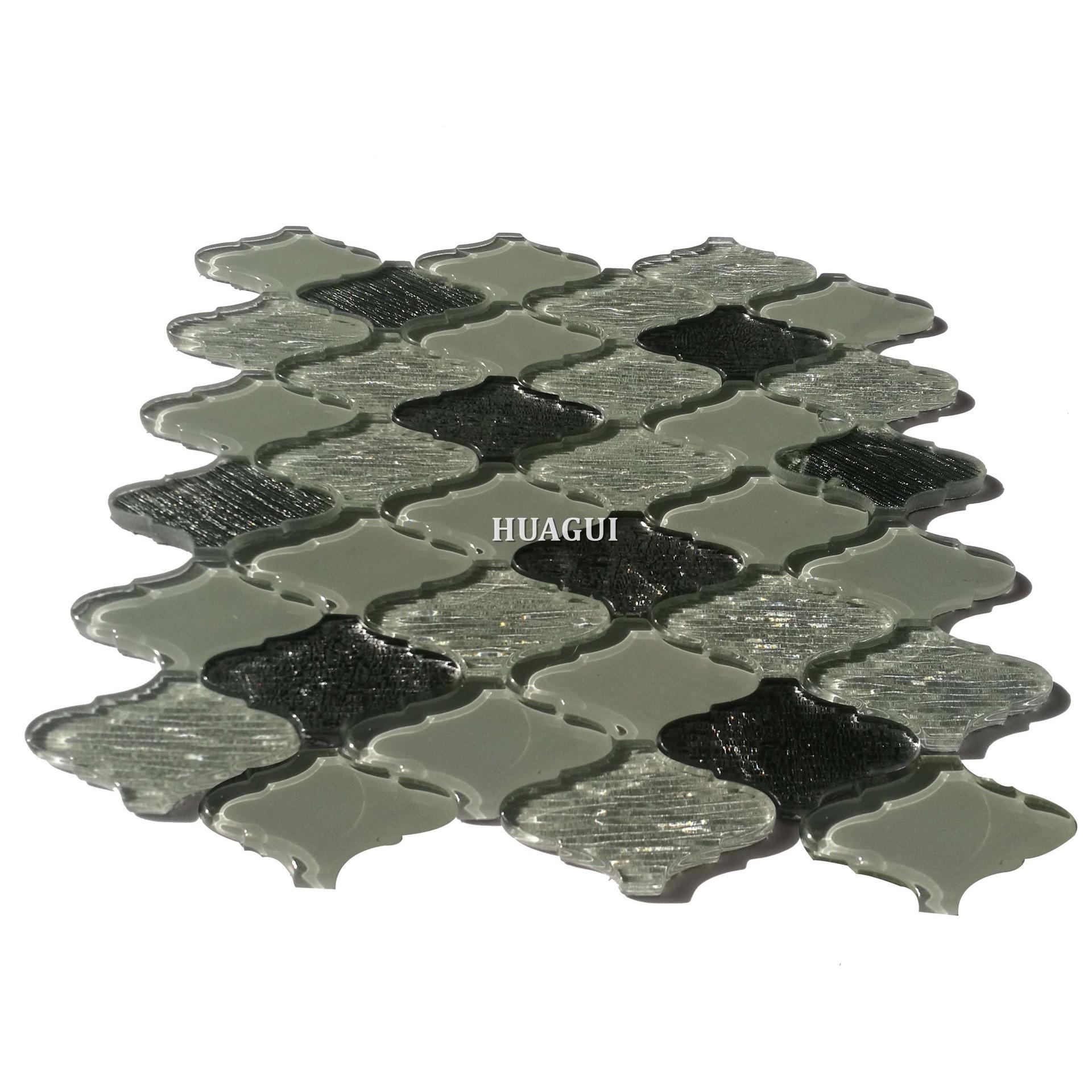 New design waterjet gray lantern glass mosaic tile backsplash
