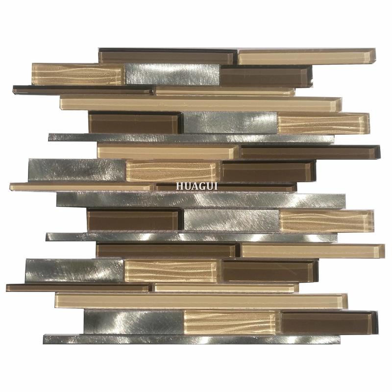 Foshan brown and silver glass mix metal strip mosaic tiles hobby lobby