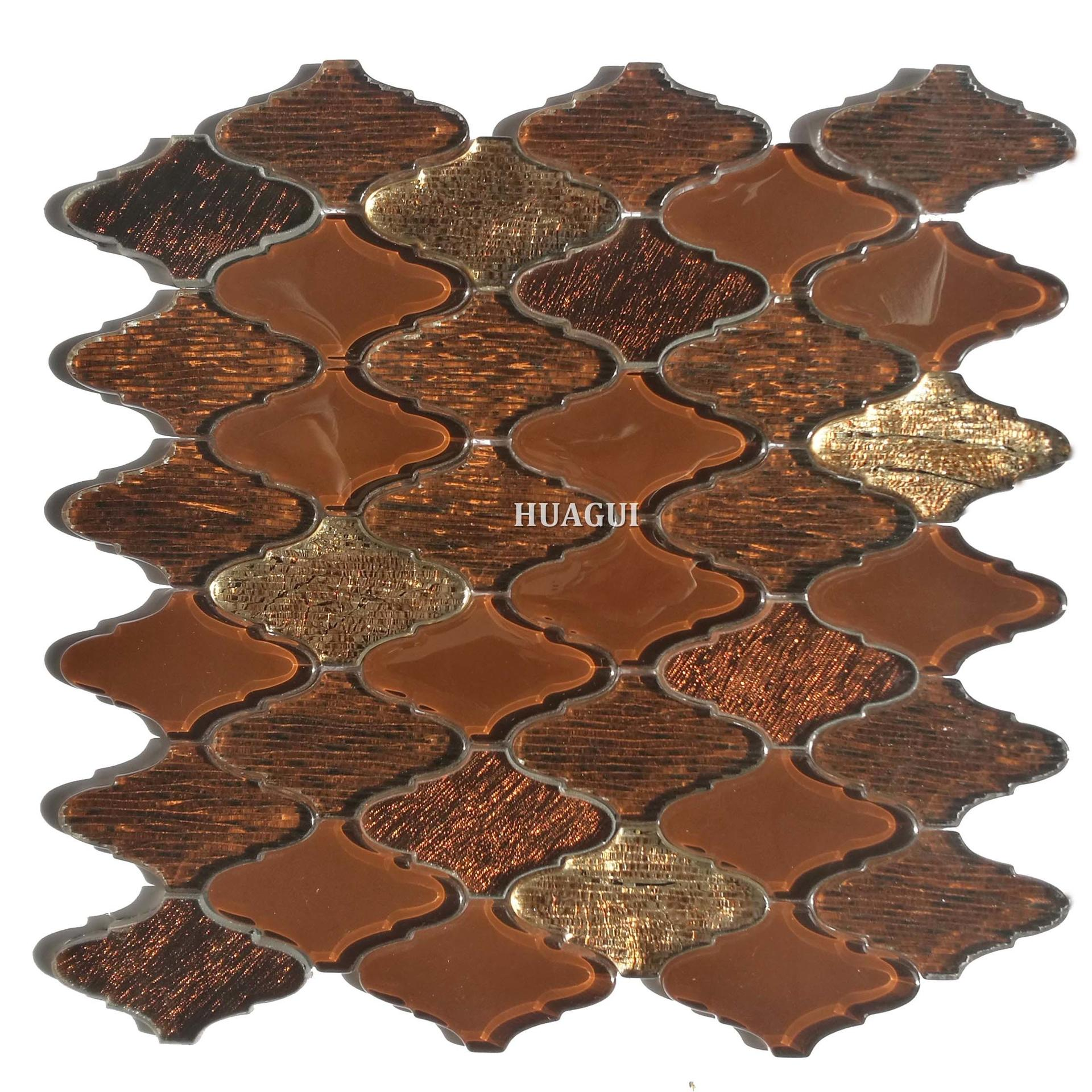 Glitter brown mix golden color glass lantern mosaic wall tile
