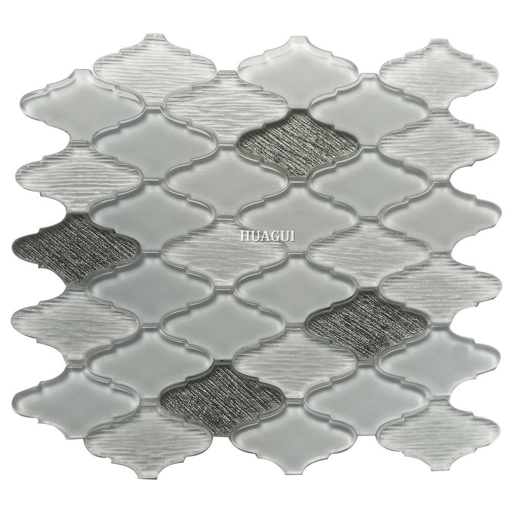 Lantern super white glossy and silver glitter glass mosaic bathroom tiles ideas