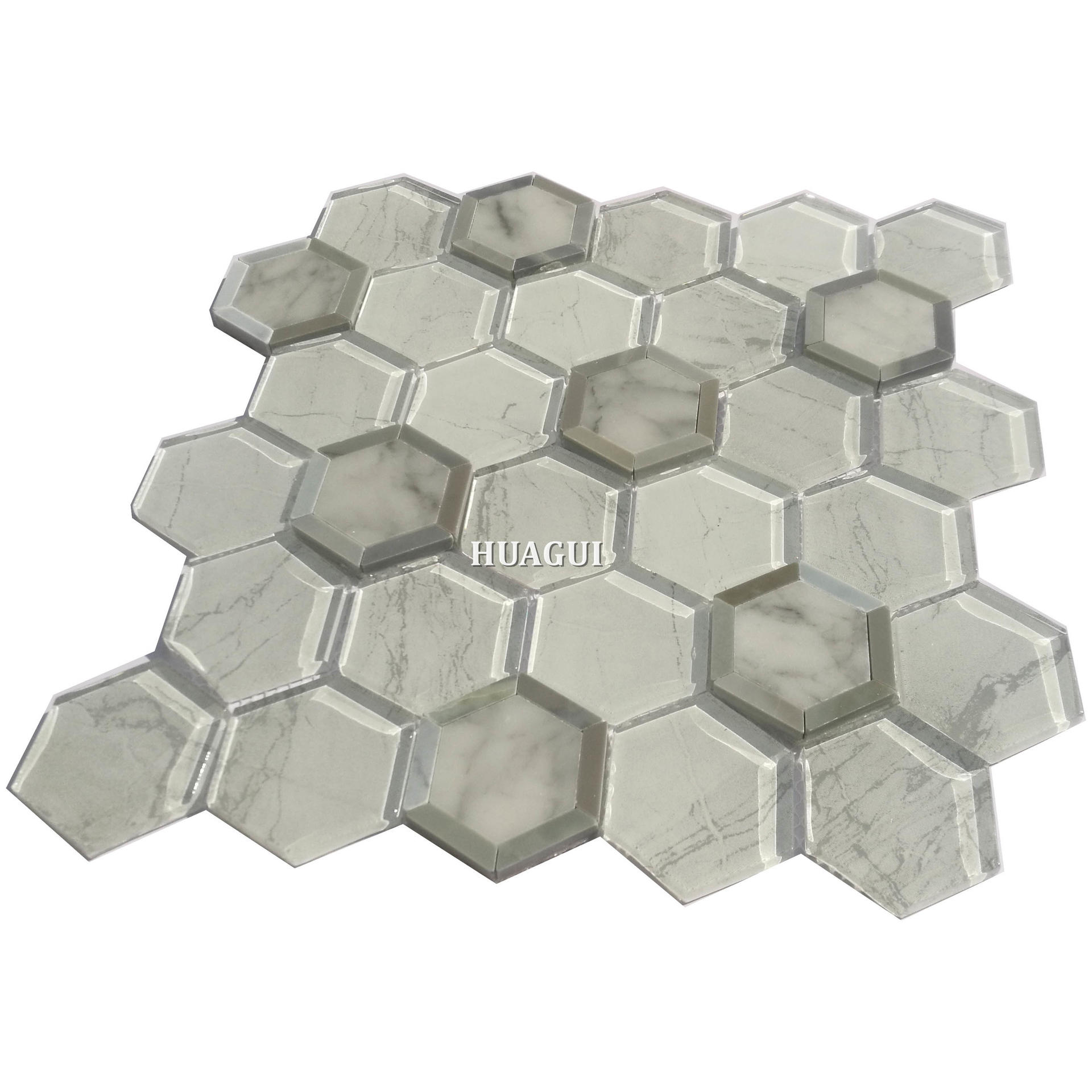 America style grey and white hexagon kitchen backsplash tile