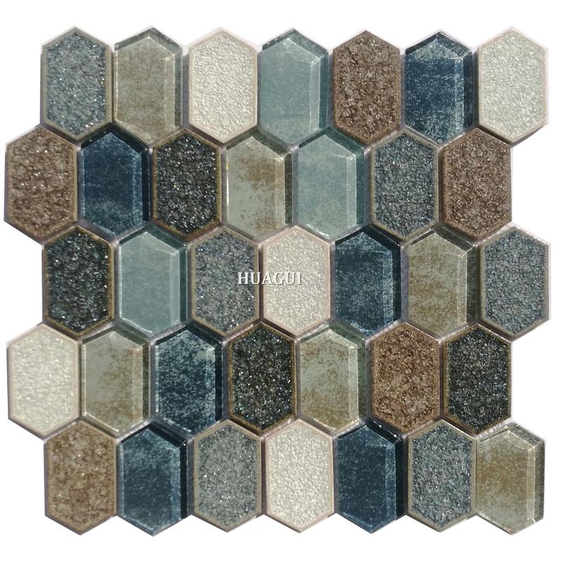 Unique glass mix ceramic mosaic white and blue waterjet backsplash wall tile