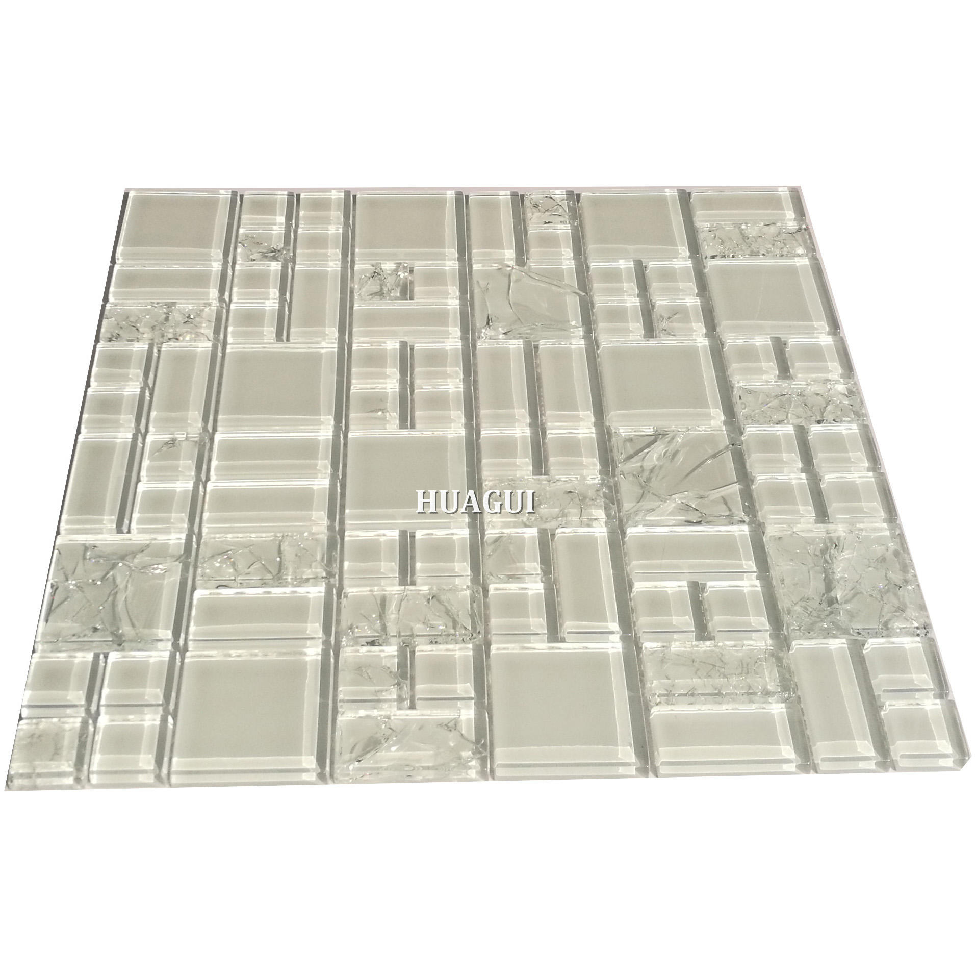 Fashion ice crack white crystal glass bathroom mosaic tiles