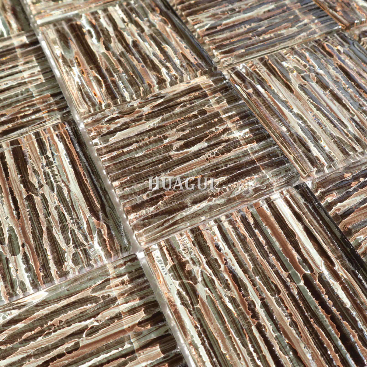 8mm brown rectangular glass tile waterfall series