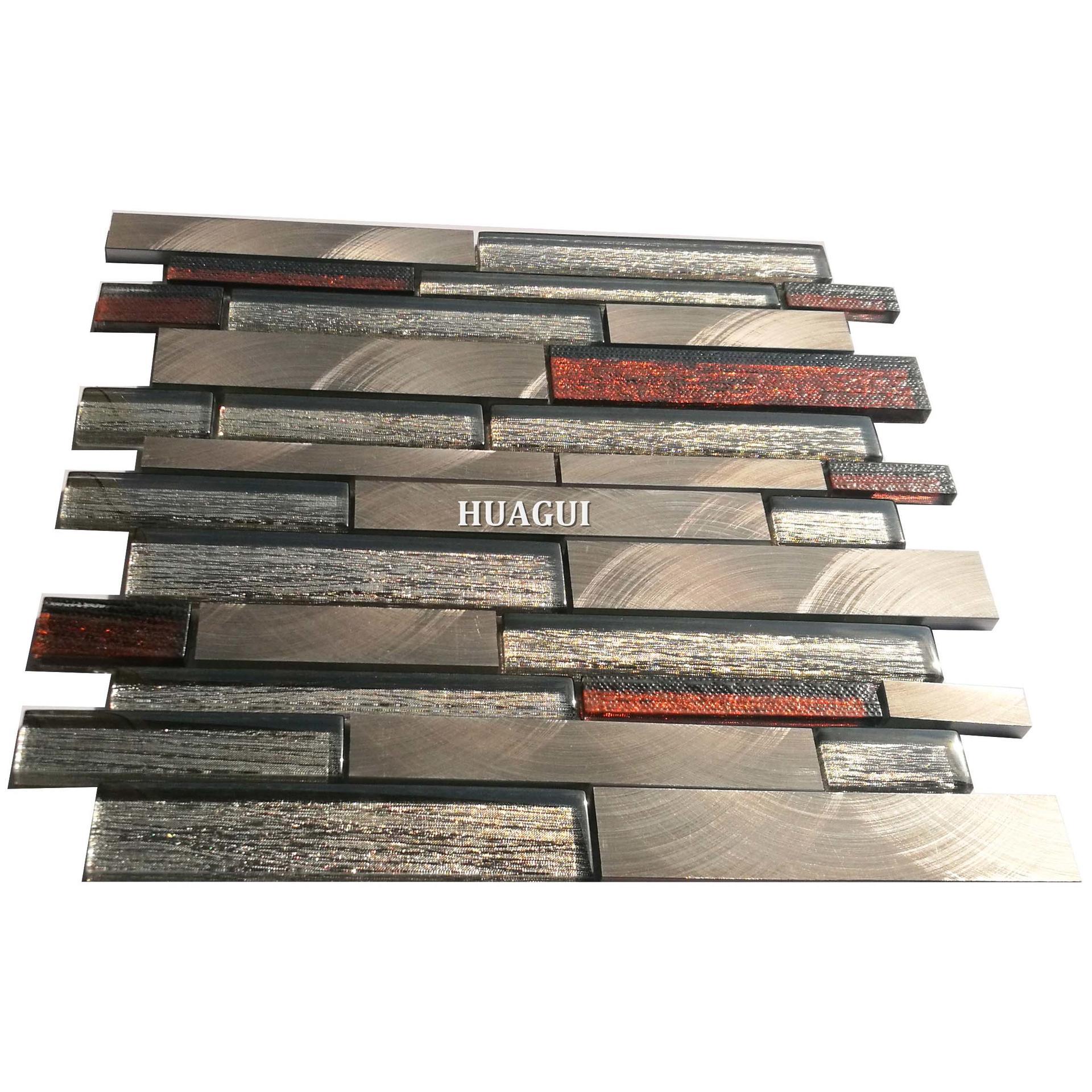 High quality strip polished glass mix aluminum mosaic backsplash tile