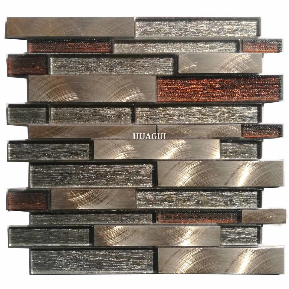 High quality strip polished glass mix aluminum mosaic backsplash tile