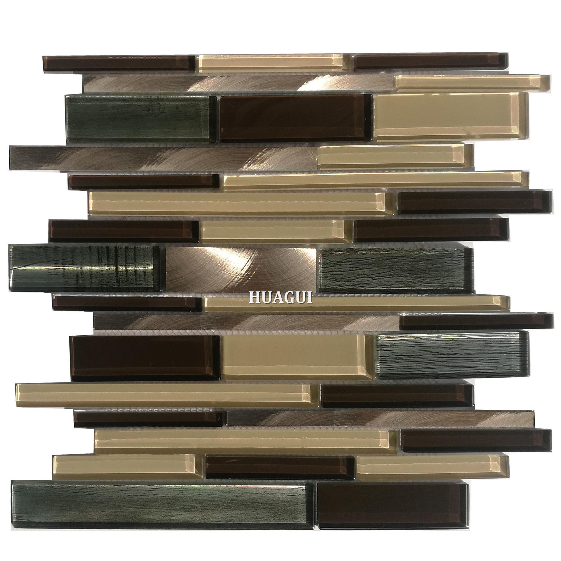 Factory supplier java bronze glass metal strip mosaic tile in Pakistan