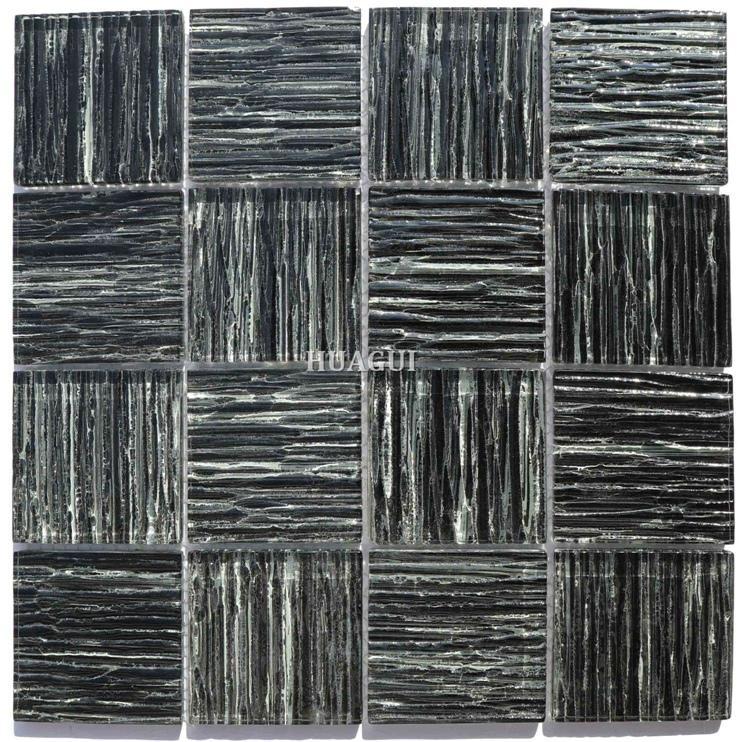 Black fashion glass crystal tiles for kitchen backsplash border popular in USA