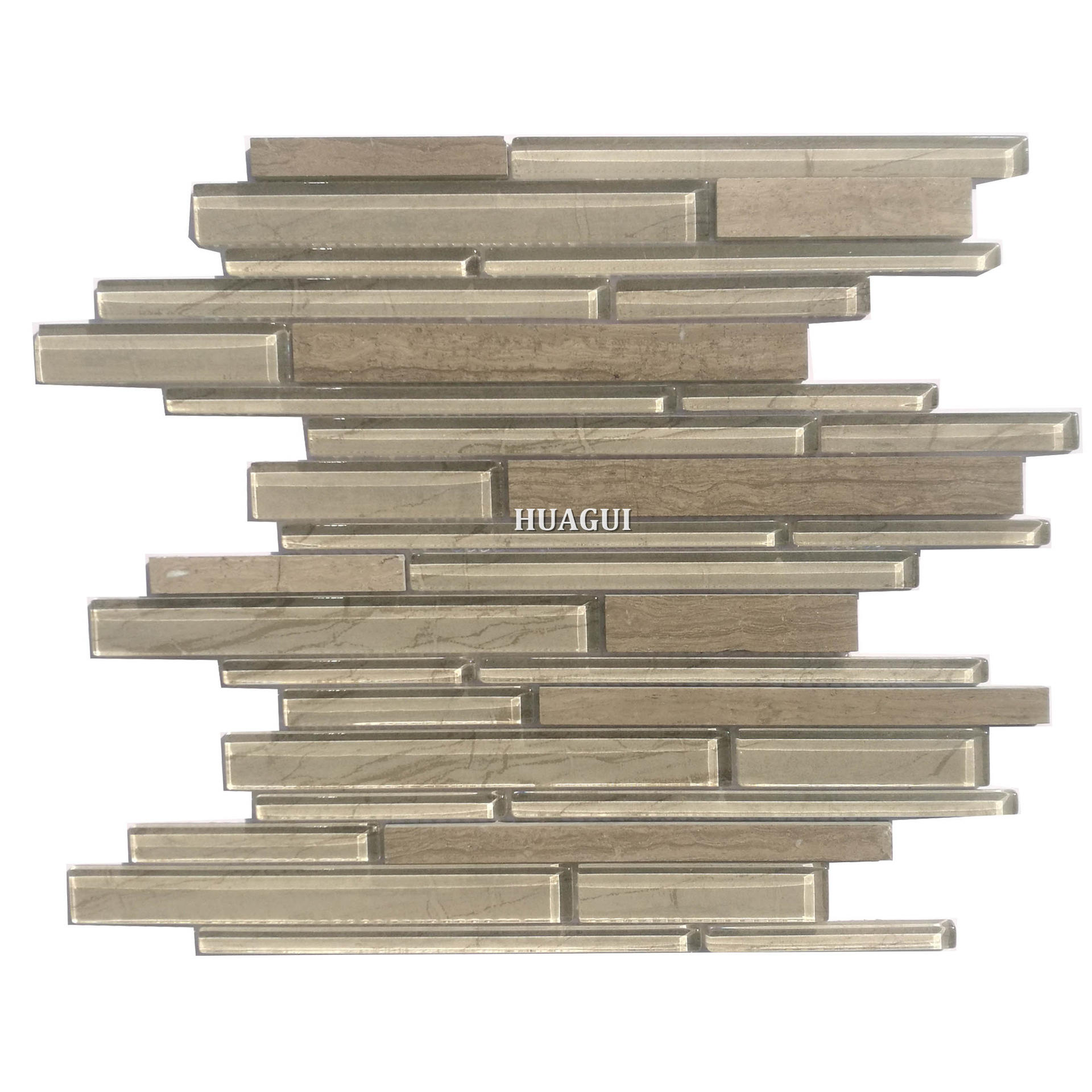 Linear stove backsplash ideas glossy strip glass mix stone wall tile for sale