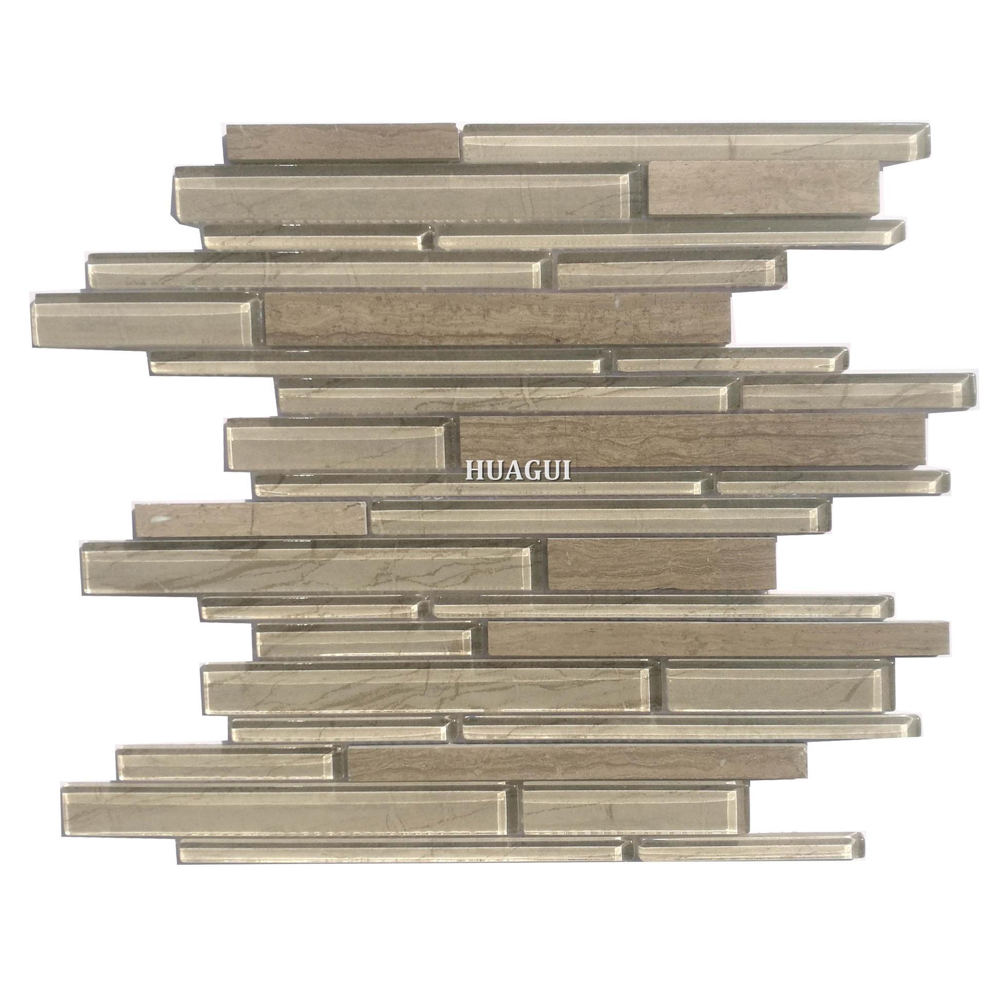 Linear stove backsplash ideas glossy strip glass mix stone wall tile for sale