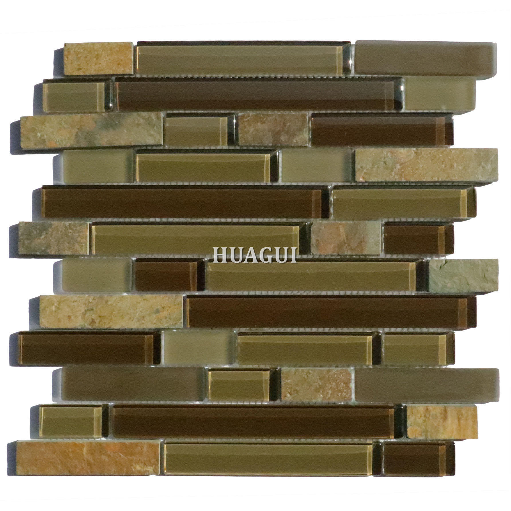 Fireplace with brown glass linear mix slate mosaic tile