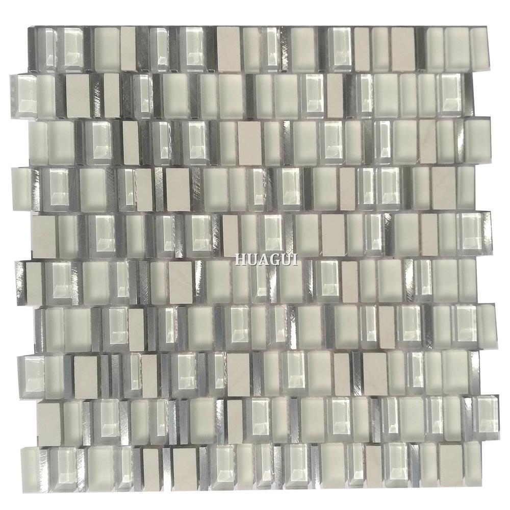 Decorative kitchen  sliver metal mix crystal white glass mosaic backsplash tile