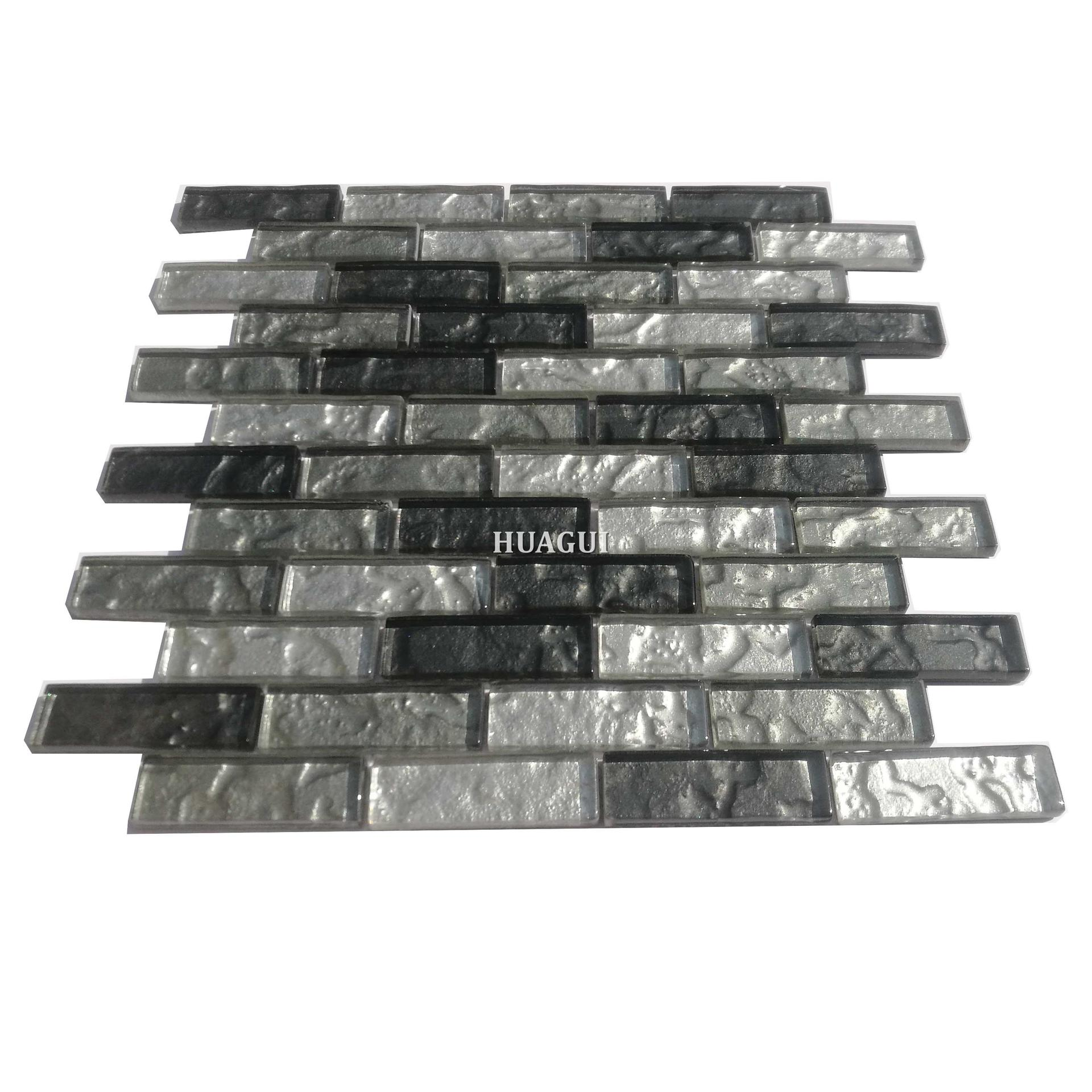 Non-slip black grey backsplash glass tile for wall or floor designs