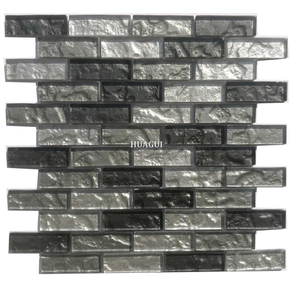 Non-slip black grey backsplash glass tile for wall or floor designs