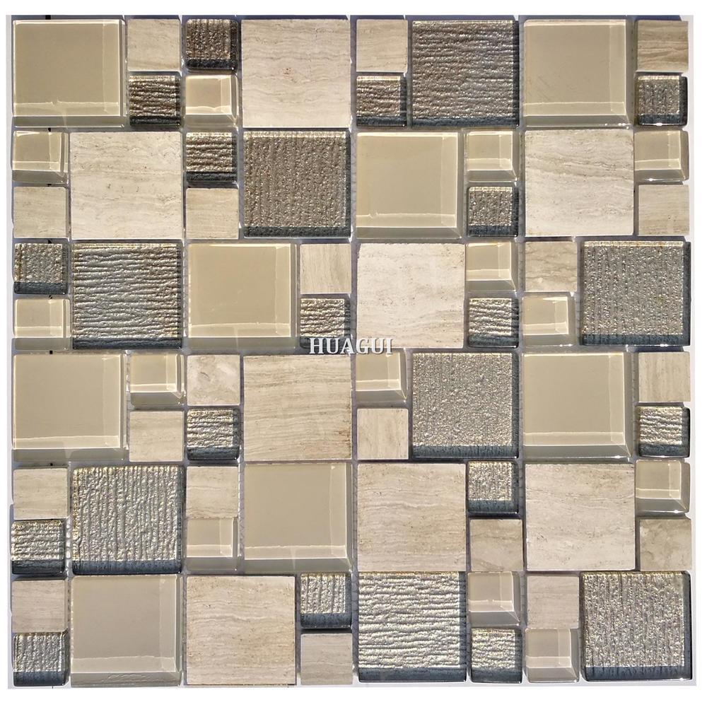 Interior wall wood grain stone mixed glass mosaic backsplash vancouver wall tile