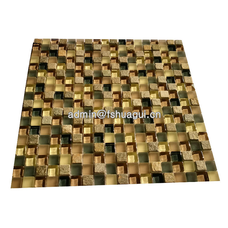Colorful mini square glass mosaic mixed with slate mosaic tile for bathroom wall & floor