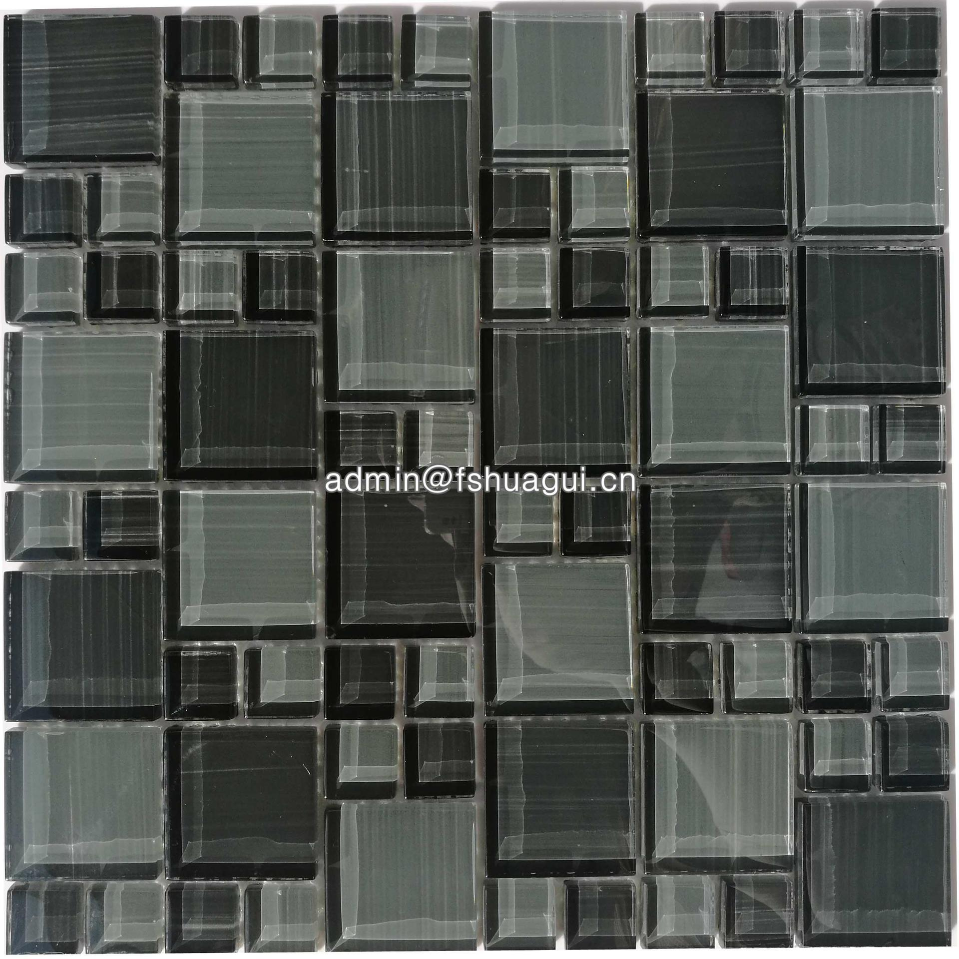 Factory wholesale mixed color square art pattern crystal glass mosaic tile