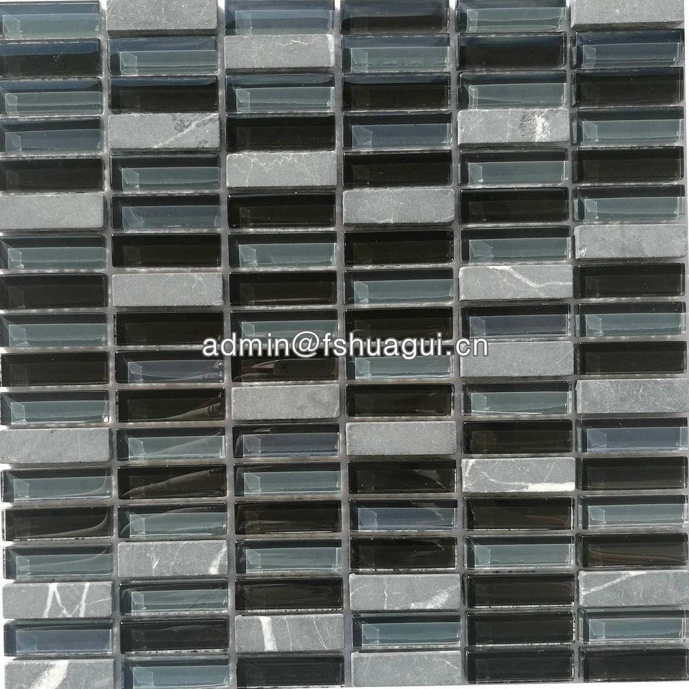 Brick hot selling glossy & matte grey stone mixed black glass mosaic backsplash idea