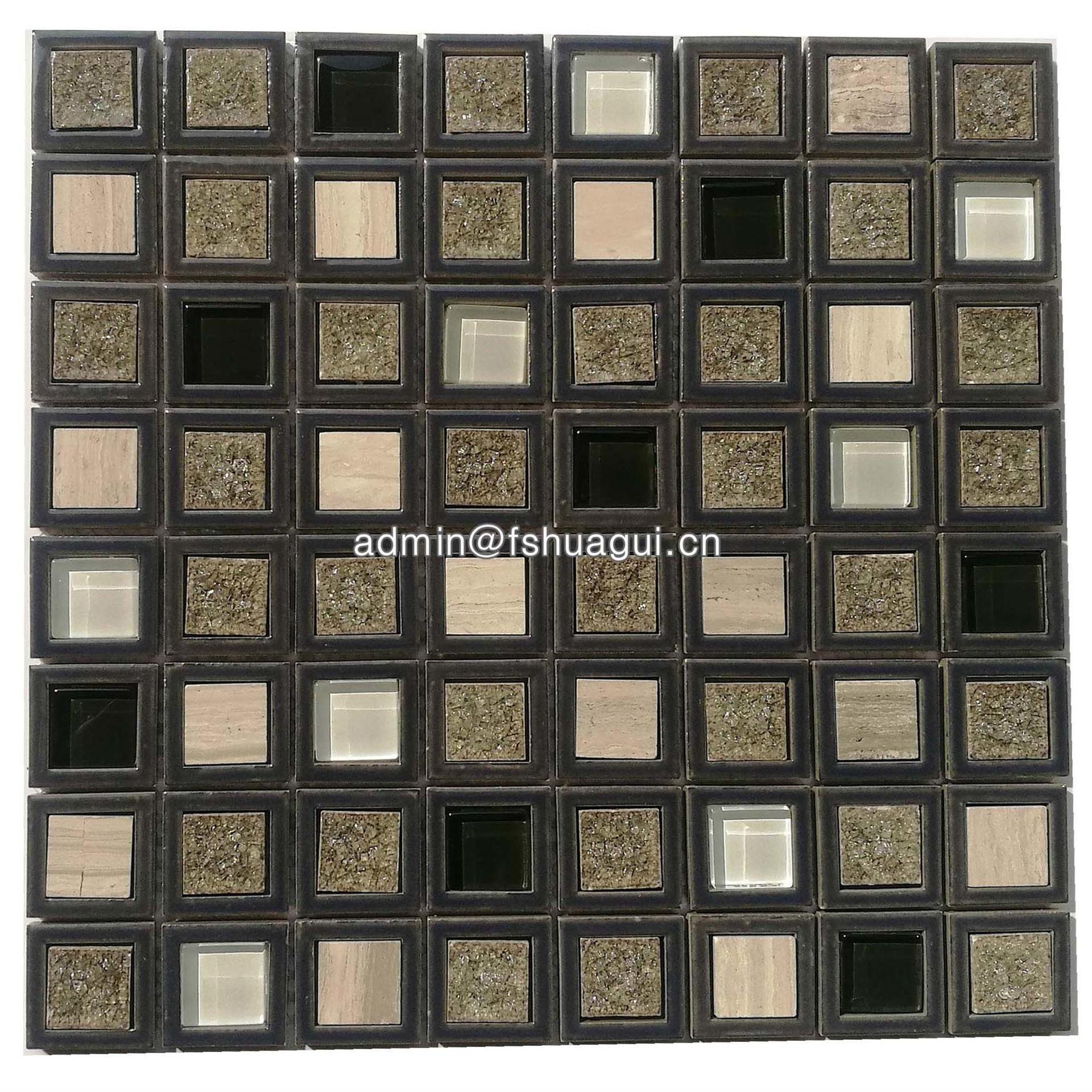 Square particle brown ceramic mix glossy glass mosaic tiles