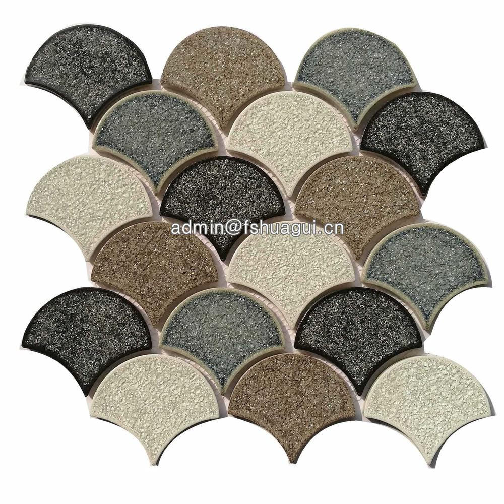 Scalloped ceramic mosaic tile backsplash